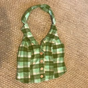 Green Plaid Urban Outfiters Halter - XS
